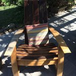 Locally made chair from wine barrels!