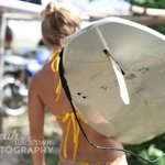 Instructoria Lauren with a Chica Brava surfboard