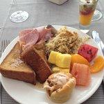 Food from breakfast buffet