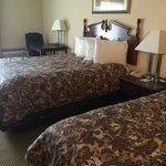 Dated furnishings and bedding.  The room smell stale and like mildew