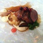 Quebec duck, parsnip purée, cranberries, rhubarb gelée, roasted cauliflower