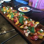 This board salad included wonderful peaches and delicious herbs.