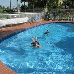 Enjoying a swim in the pool