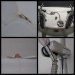 mould, wonky taps, peeling ceiling, broken shower tube