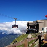 There was a nice cafe with the great view of Chamonix Mont Blanc.