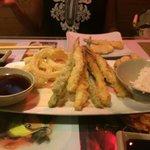Shrimp and vegetable tempura dinner