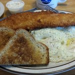 Angler's breakfast: walleye filet, potatoes, two eggs,  and toast.