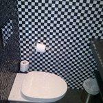 Nice looking bathroom but no towel rails (!), toilet seat is loose, sink plug stuck down permane