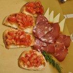 Bruschetta and salami