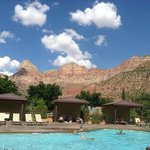 View to the pool and partial view of magnificent Zion mountains!