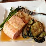 Salmon with coconut mango glaze