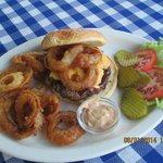 Wally Burger.. bbq sauce, bacon,cheese, and onion rings. Served w/ chipotle ranch