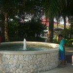 Kolam air mancur di halaman belakang hotel