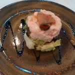 Prawn cocktail topped with gravad lax