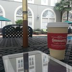 Hanging out by the pool with my tablet and coffee...