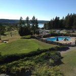 Pool, golf course, lake