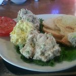 3 scoop appetizer - chicken, tuna and egg salad