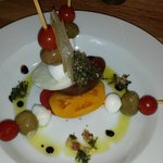 Green, Red and Yellow Tomato Pisa Tower Stack with Fig Balsamic Reduction and Tabbouleh