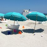 Umbrellas and kids' play area on the beach