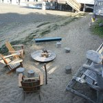 View of the fire pit and beach