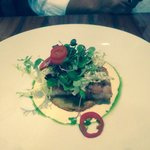 Pork belly over fried green tomato- delicious