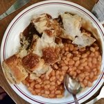Sausage roll, beans and gravy