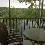Balcony with mosquito net overlooking the lake