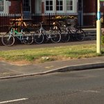 Car park needs a cycle rack as public foot path gets blocked by cycles chained to front railings