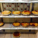 Lots of variety of pies including Door Co apples and cherries