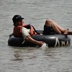 Our Guest from Wales tubing down the Napo River