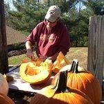 Cutting up our pumpkins for Hunter's Moon pumpkin mead