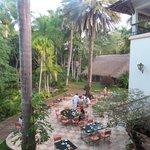 jardim e área do café da manhã/restaurante, vista da nossa sacada