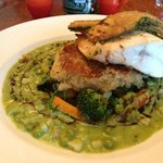Cod over crab cake and curried peas was wonderfully memorable
