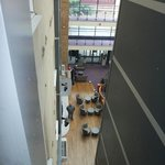 looking down into reception