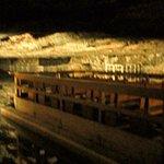 Boat ride across crystal clear underground salt lake