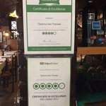Certificado do Tripadvisor