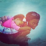 Me and my daughter relaxing in the pool
