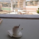 Coffee offered for free + view from balcony