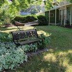 The yard has a hammock.