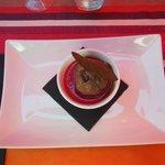 Panacotta chocolat caramel framboise