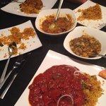 Rice, 3 mains & veg side dish