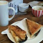 BBQ Aubergine, Swiss Cheese & Cashew Nut Butter panini
