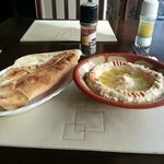 Flat bread with hummus