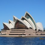View of the Sydney Opera House while walking down the waterfront