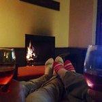 The woodburning fireplace.  :)