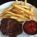 Kids menu steak and fries