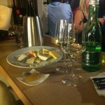7types of cheese and vienese wine and water