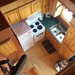 Looking down into kitchen from upstairs
