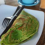 Pandan Pancakes filled with local bananas, coconut and palm sugar :)