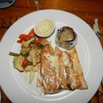 Sea Bass with dill sauce.